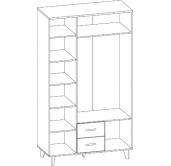 МС Ларго шкаф 3-х дверный 1300 с зеркалом 01.404
