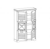МГ Кантри пенал низкий со стеклом (Сосна Андерсен, Орех Рибек натуральный)
