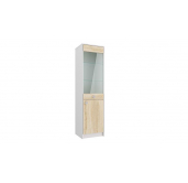 МГ Конти шкаф-пенал со стеклом 450 (белый/дуб сонома)